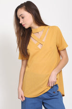 Mustard Stylish V Top