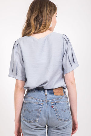 Gray Buttoned Rayon Top