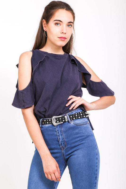 Navy Stylish Sleeve Top