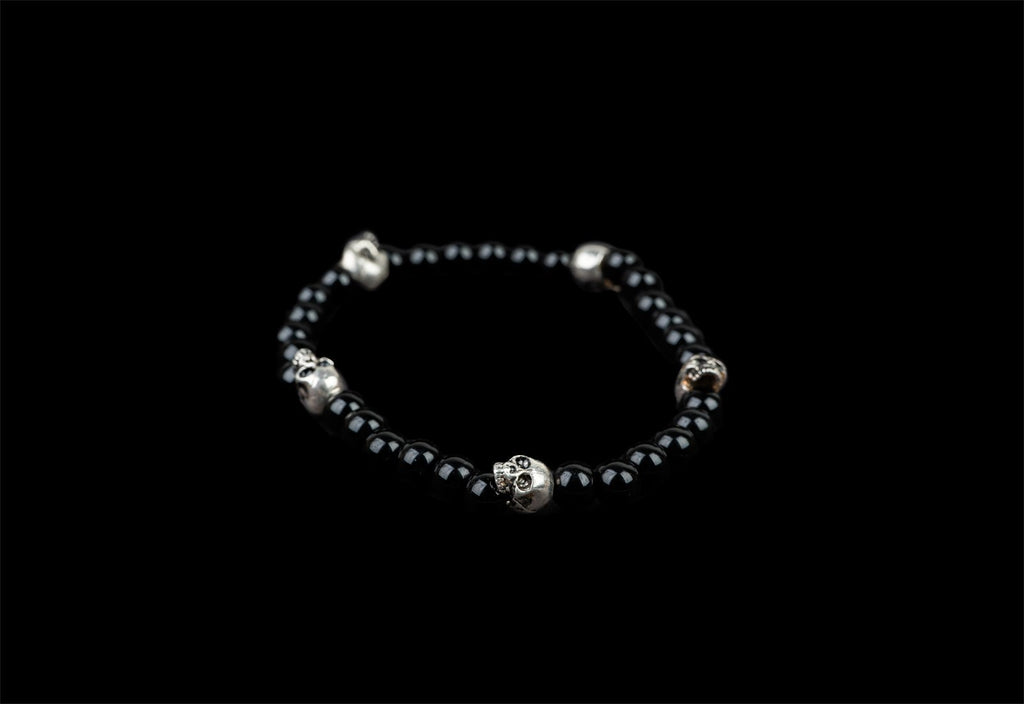 5 SKULLS ALICE BLACK BRACELET - Rock and Jewel