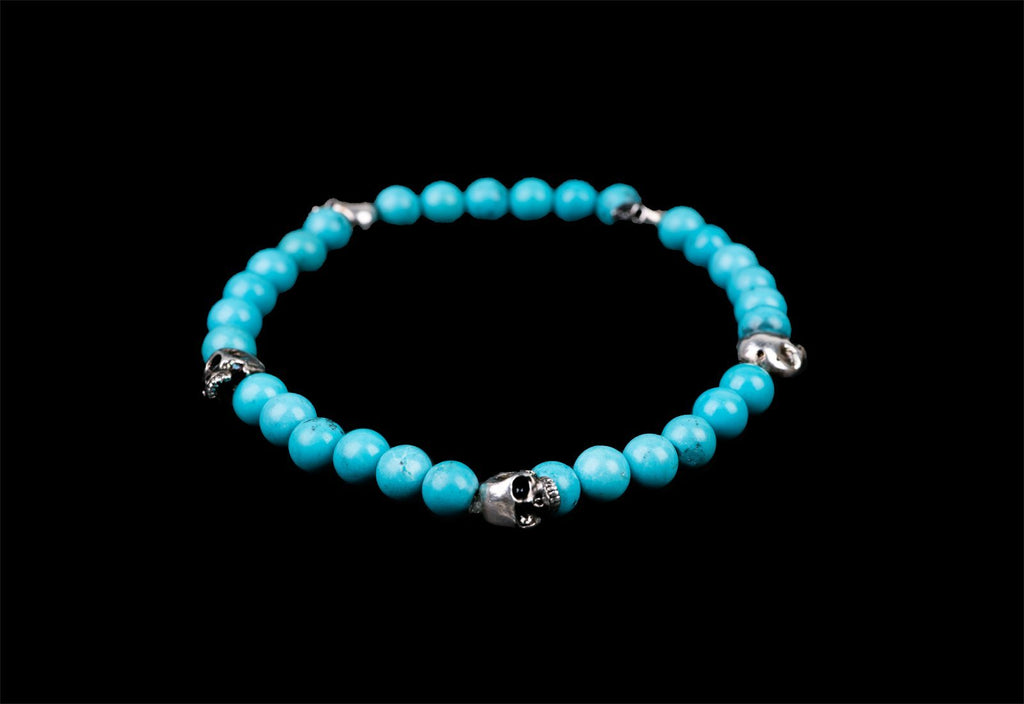 5 SKULLS ALICE TURQUESA BRACELET - Rock and Jewel