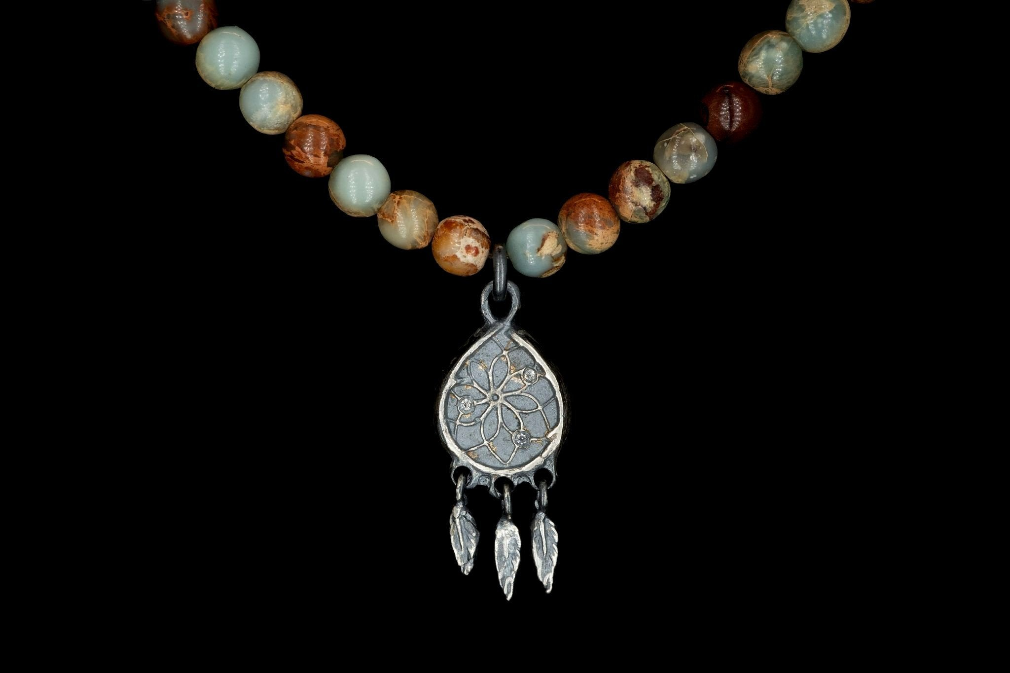 AFRICAN OPAL DREAMCATCHER NECKLACE