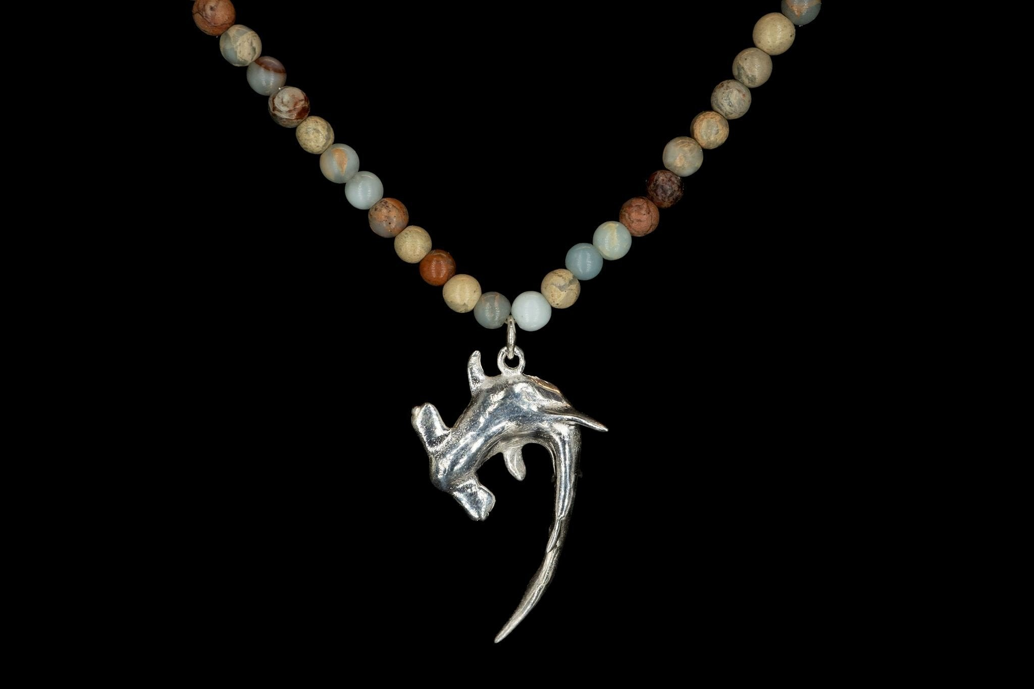 AFRICAN OPAL MEDIUM HAMMER SHARK NECKLACE