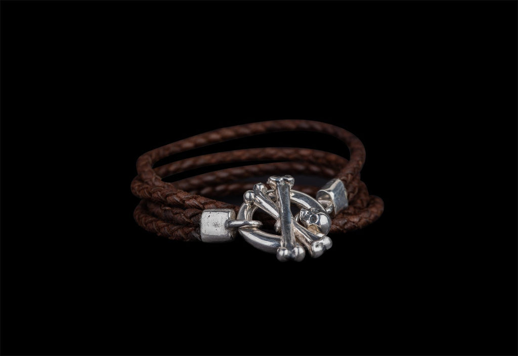 CROSSBONE LEATHER WRIST BRACELET - Rock and Jewel