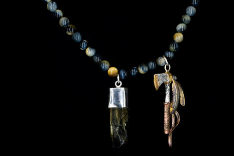 GOLDEN TIGER EYE AXE FEATHER NECKLACE