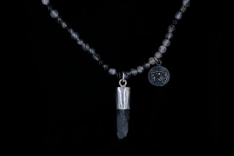 GRAY AGATHA DRAGON VEIN EYE OF HORUS NECKLACE