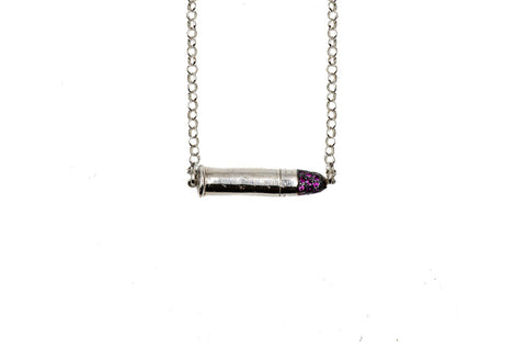 ROCK STAR .22 SILVER BULLET NECKLACE (CON RUBIS)