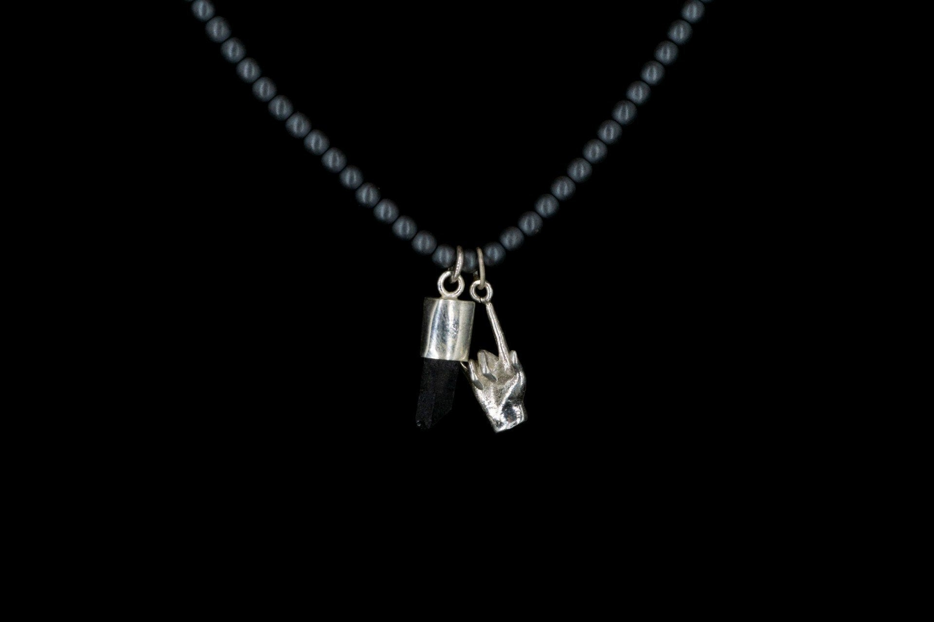 SILVER HEMATITE MATE RJ HAND NECKLACE