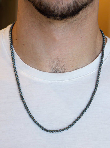 SMALL BALL GRAY ONIX MATTE NECKLACE