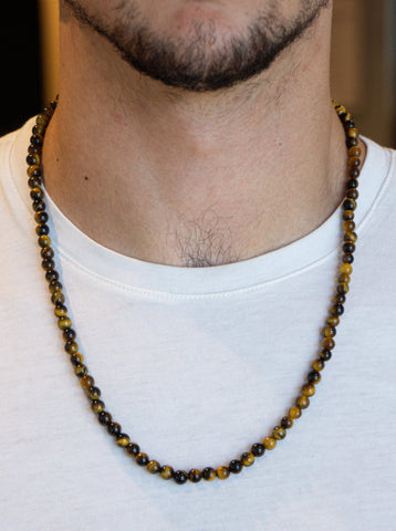 SMALL BALL TIGER EYE NECKLACE