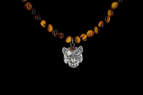 TIGER EYE PANTERA TALISMAN NECKLACE