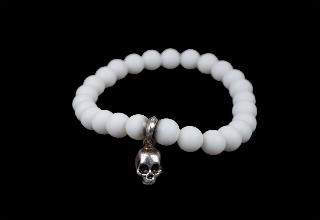 WHITE STONE ALICE SKULL BRACELET - Rock and Jewel