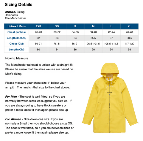 The Manchester - Raincoat - Size Chart