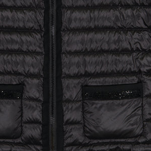 The Mayfair Noir - Cap Sleeve Down Vest with Crystal Trim