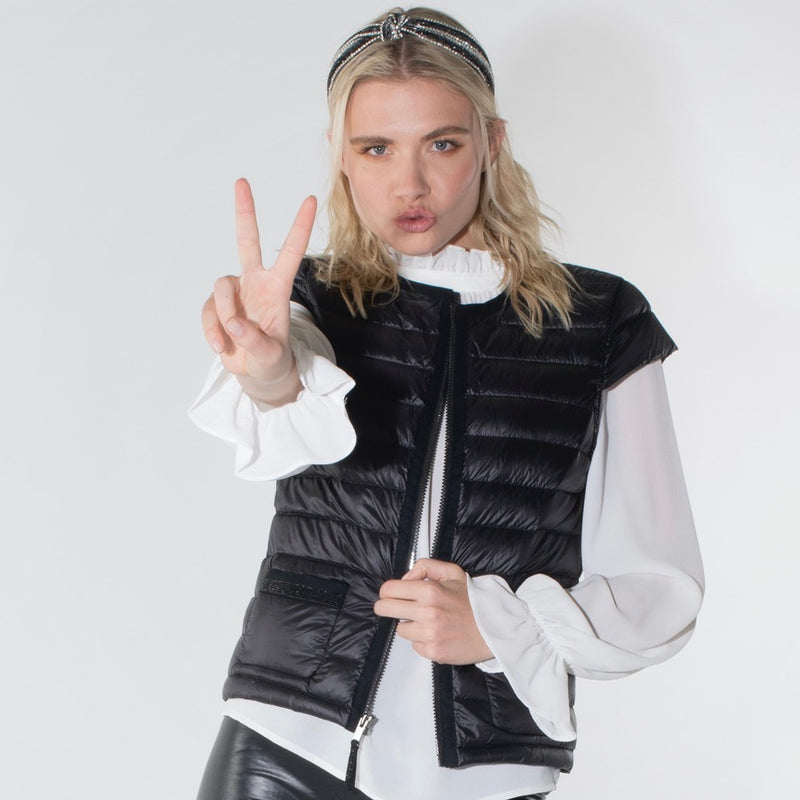 The Mayfair Noir - Cap Sleeve Down Vest with Crystal Trim - FINAL SALE