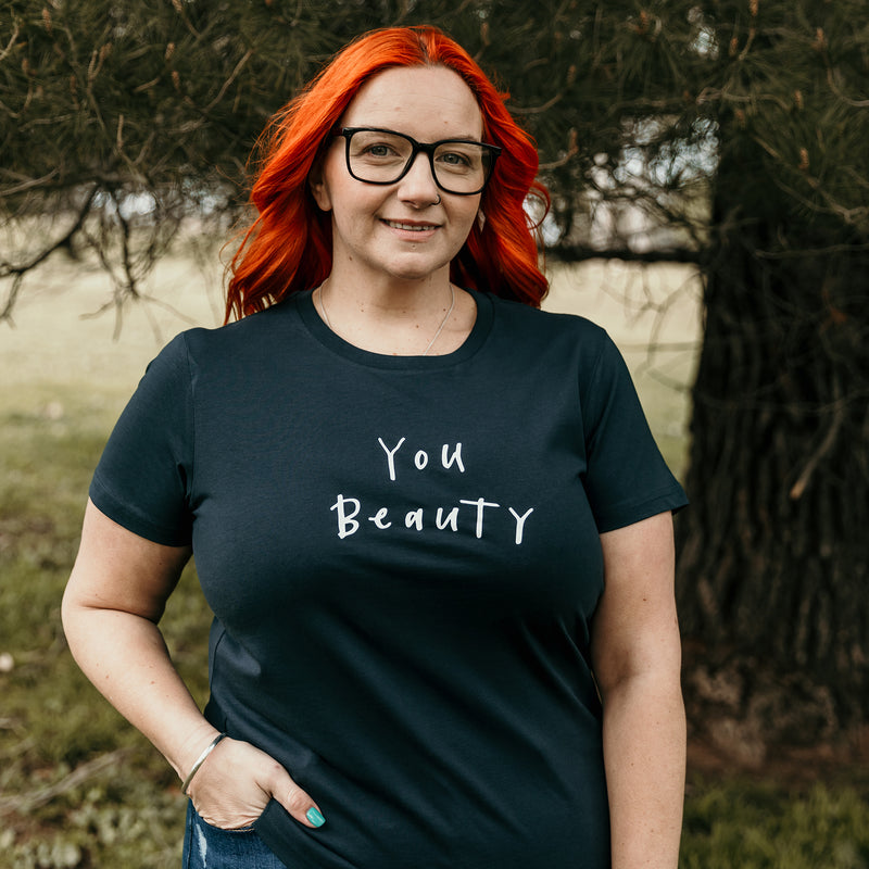 You Beauty tee (Ladies) - Indigo