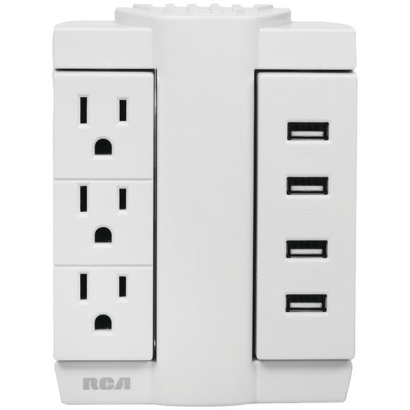 Check it out Home Theater & Custom Install RCA PSWTS3U48Z 3-Outlet Swivel Wall Tap with 4 USB Ports Default Title Rca at popular-product-trends.myshopify.com