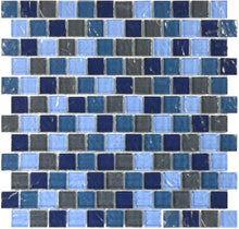 Load image into Gallery viewer, POOL BRICK GLASS TILE MOSAIC SAND GREY BLEND 1X1