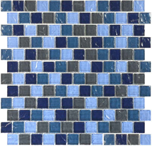 POOL BRICK GLASS TILE MOSAIC SAND GREY BLEND 1X1