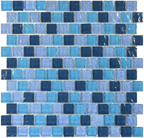 BRICK POOL GLASS TILE MOSAIC SAND BLUE BLEND 1X1