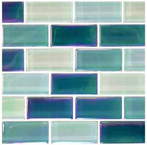 GLASS WATERLINE TILE MOSAIC