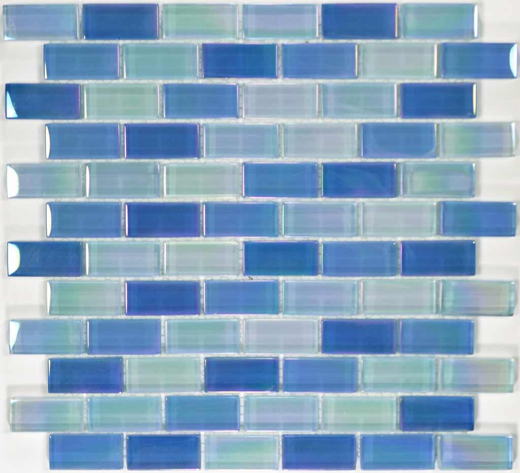 GLASS MOSAIC TILES FOR SWIMMING POOL WATER IRIDESCENT CLEAR BLUE BLEND 1X2
