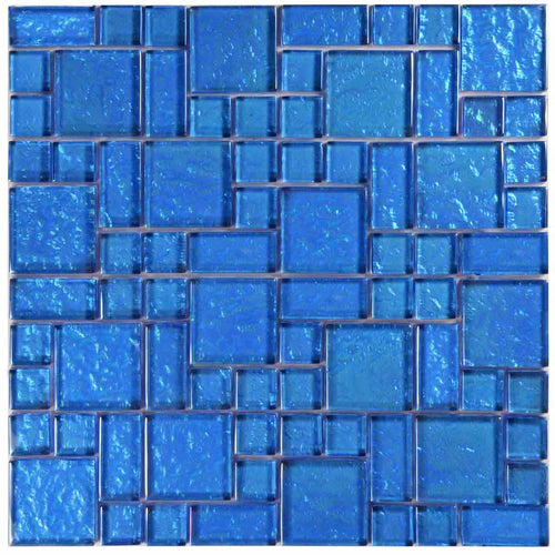 BLUE GLASS POOL TILE MOSAIC