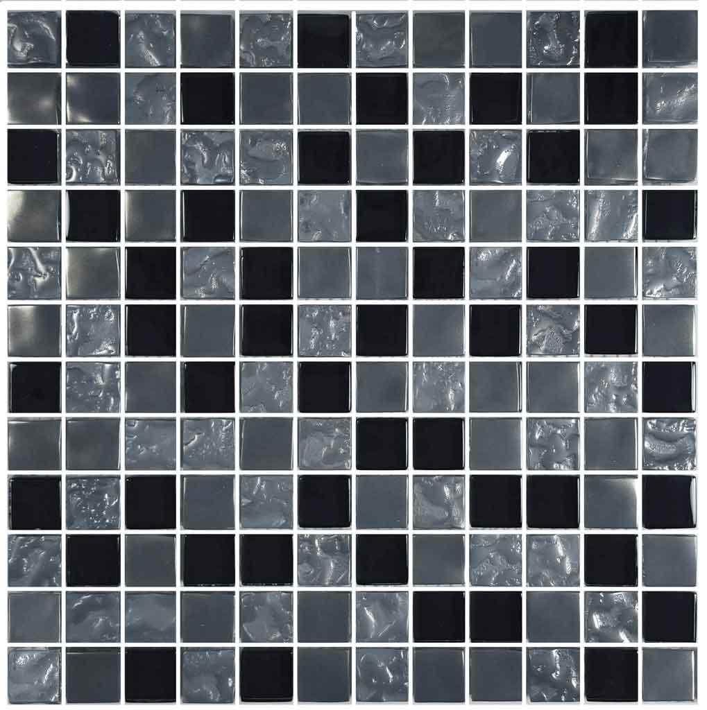 BLACK TILE SWIMMING POOL MOSAIC PACIFIC BLACK 1X1