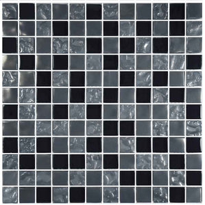 BLACK TILE SWIMMING POOL MOSAIC