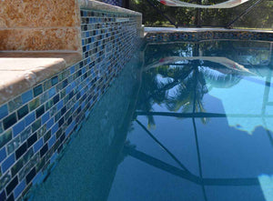 BLUE GLASS TILE POOL