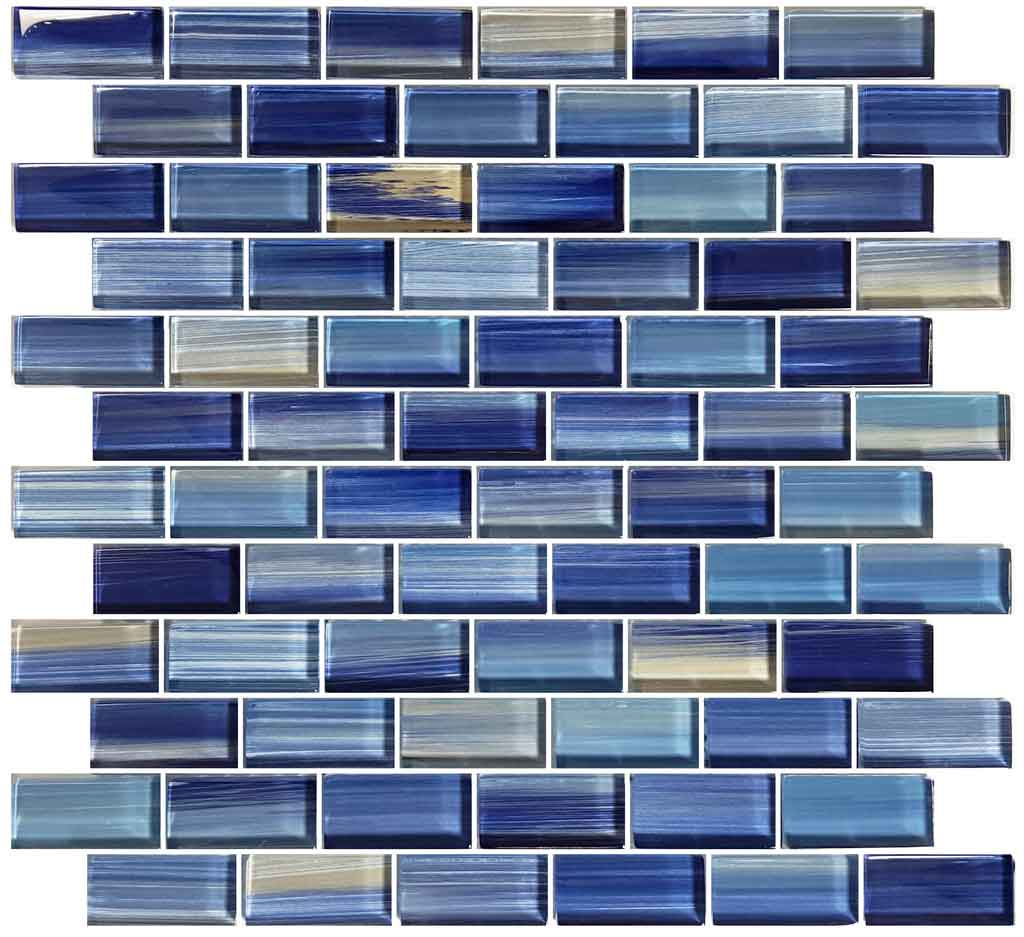 BLUE GLASS MOSAIC TILES