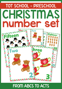 Count your way through the holiday season with these fun Christmas themed counting number cards available in both full page printouts and quarter page cards that are perfect for preschoolers and kindergartners!