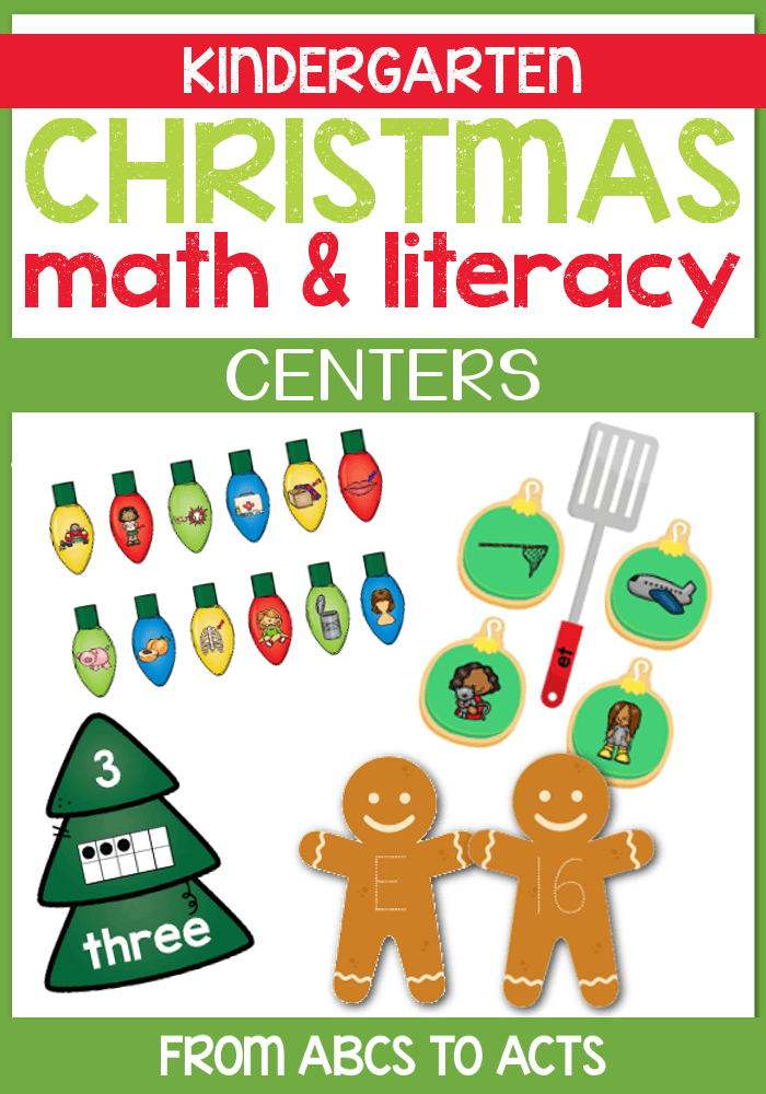 Celebrate the upcoming holiday season with kindergarten math and literacy centers that are perfect for kindergartners! #FromABCsToACTs #MathCenters #LiteracyCenters #ChristmasActivities