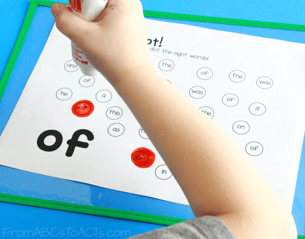 Dot Marker Sight Word Pages