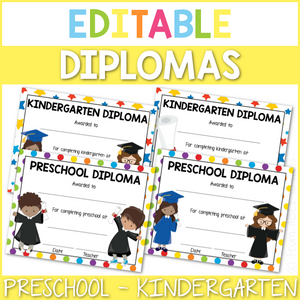 Editable Preschool and Kindergarten Diplomas