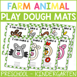 Farm Animal Play Dough Mats