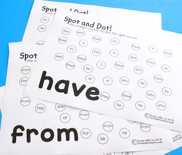 Fry Sight Word Dot Marker Practice First 25