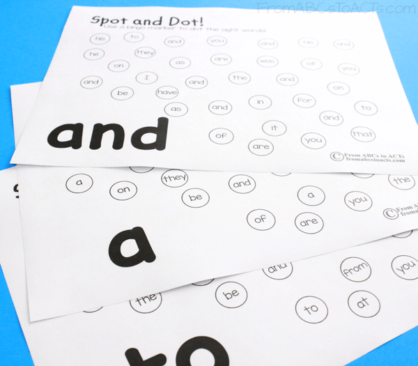 Fry Sight Word Practice for Kindergartners