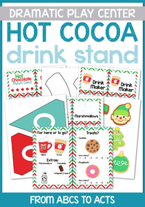 Hot Chocolate Stand Dramatic Play Center Printable Set