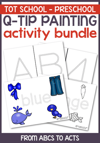 Practice fine motor skills, letter recognition, colors words, shapes, and more with this Q-Tip painting activity bundle!