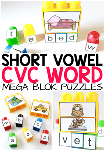 These printable puzzles making learning and practicing short vowel CVC words easy, fun, and hands-on! Perfect for preschoolers and kindergartners that are learning to read!
