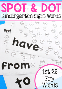 Practicing sight words just got a whole lot more fun! These Spot and Dot pages are the perfect way to practice those high frequency words with your kindergartner!