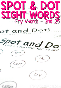 Practice sight words and fine motor skills at the same time with these NO PREP Spot and Dot sight word practice pages! Perfect for kindergartners or first graders that need a little more practice! #literacy #sightwords #highfrequencywords