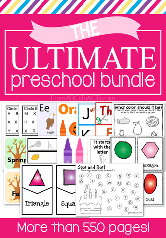 Make your next home preschool year easier than ever and a whole lot more fun with the Ultimate Preschool Printable Bundle! Over 600 pages of preschool activities covering everything from the letters of the alphabet and colors, to shapes, numbers, and fine motor skills!