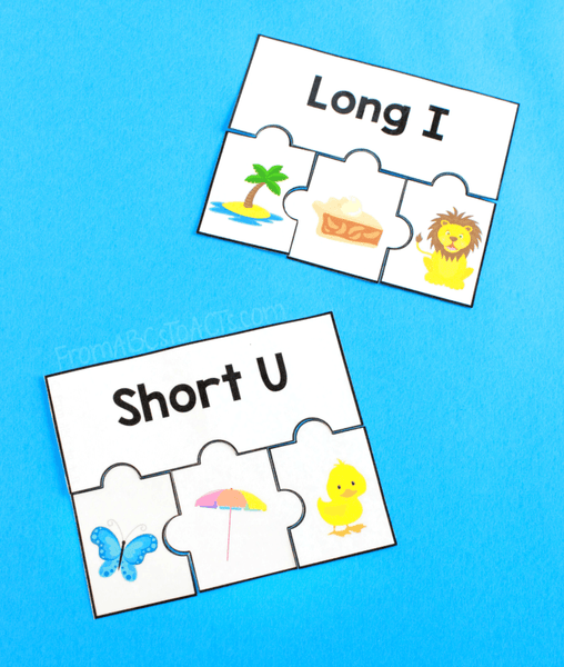 Vowel Sound Puzzles for Kindergartners