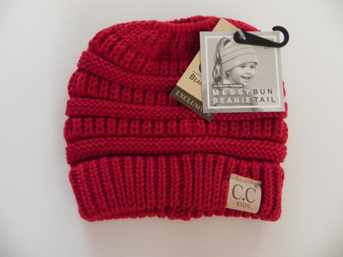 Kids CC Beanie Tail- Red