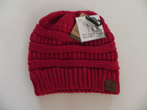 CC Beanie Messy Bun - Red