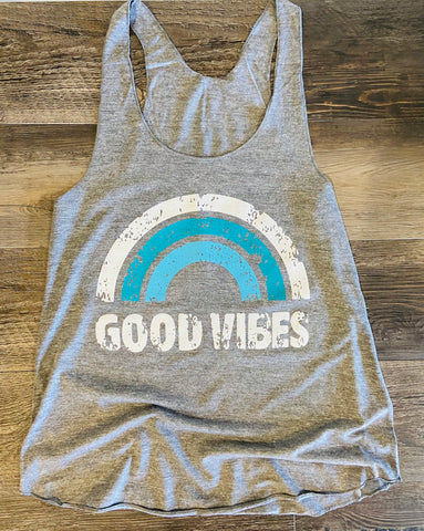 Good Vibes American Apparel - Women's Triblend Racerback Tank