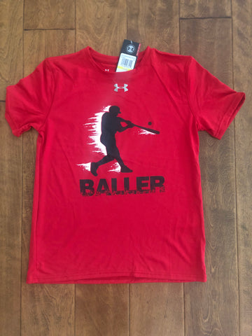Youth- Under Armour Short Sleeve Locker Tee- Baller