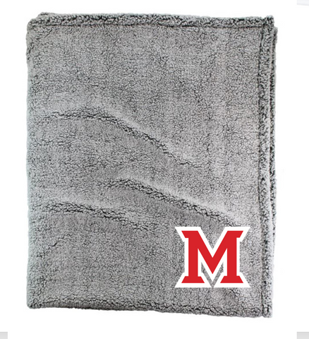 "Maize - Boxercraft - Sherpa Blanket- EMBROIDERED ""M"""